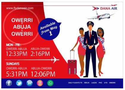 Owerri to Abuja to Owerri Dana Airlines
